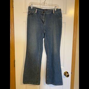 INC stretch boot cut jeans.